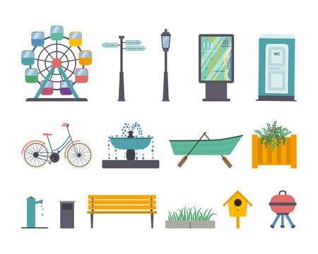 Vector set of park and gardens elements: ferris wheel, street light, guidance sign, map panel, wc, bike, fountain, boat with oars, flowerbed, stand-pipe, litter bin, bench, pavement and grass, nesting box, barbecue grill. Illustration