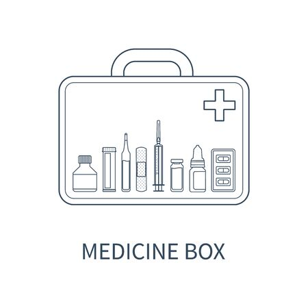 blister package: Vector illustration of medicine box with different pharmaceutical items: bottle of pills, ampul, adhesive bandage, injector, drops, blister package. Illustration