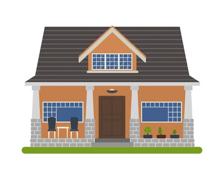 house for sale: Modern Bungalow style house. Vector illustration of a tourist house for rent, sale, booking and living, isolated on white background.