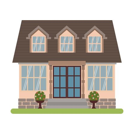 cape cod style: Modern country house in Cape cod style. Vector illustration of a tourist house for rent, sale, booking and living, isolated on white background. Illustration