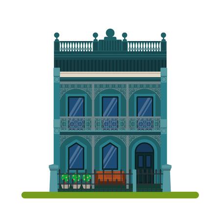 Filigraan stijl of Australische Rijtjeshuis. Vector illustratie van een toeristische huis te huur, verkoop, het boeken en wonen, op een witte achtergrond. Stock Illustratie