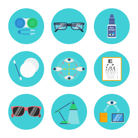 Eye health and hygiene vector set: contact lenses container, soft tweezers, eyeglasses, drops, make-up removal pads and stick, eye exercise, test chart, sunglasses, lamp, right reading and computer distance.