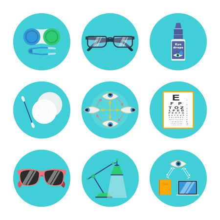 la salud ocular y la higiene conjunto de vectores: las lentes de contacto de contenedores, pinzas blandas, lentes, gotas, maquillaje almohadillas de eliminación y palillo, ejercicio ojo, gráfico de prueba, gafas de sol, lámpara, y la distancia de lectura derecho del ordenador.