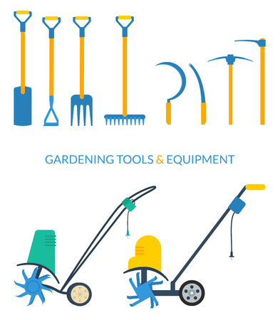 cultivator: Vector set of gardening tools and equipment: ditch or post spade, hoe, pitchfork, rake, sickle, mattock, pickaxe, electric cultivator.