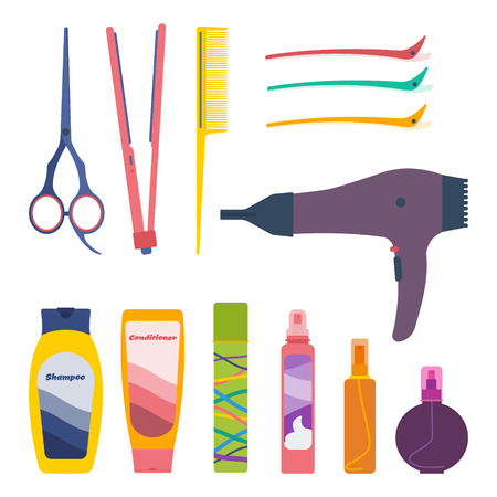 Vector set of hairdresser professional tools and hair care products: scissors, tail comb, flat iron, hair setting clips, hairdryer, shampoo, conditioner, fixing spray, hair-styling mousse, oil, protection spray.