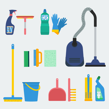 Household supplies and cleaning equipment. Flat design for web sites, infographics and printed materials.