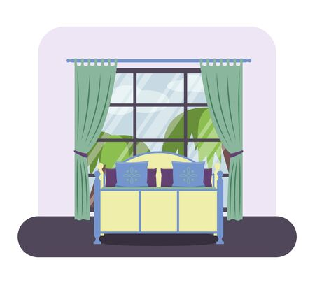piece of furniture: Flat style vector illustration of a bedroom interior. Hotel room with a large window.