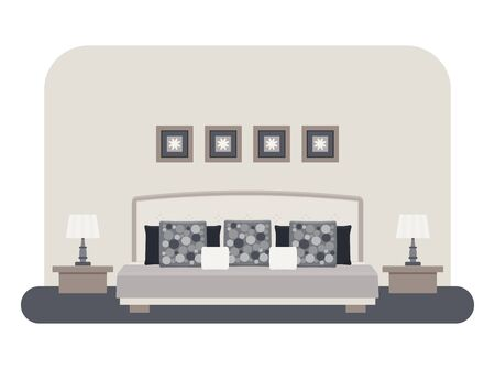 cushions: Flat style vector illustration of a bedroom interior. Bed with pillows and cushions, bedside tables with lamps, pictures.