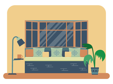 piece of furniture: Flat style vector illustration of a bedroom interior. Bed near a large window with lots of pillows and decorative cushions.