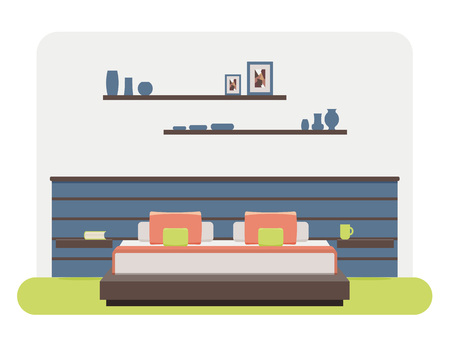 piece of furniture: Flat style vector illustration of a bedroom interior.