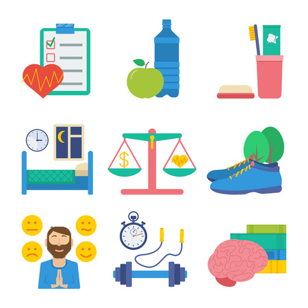 Gezonde levensstijl flat vector icon set: gezondheidsinspectie, gezonde voeding, persoonlijke hygiëne, een gezonde slaap, work-life balance, wandelen op frisse lucht, emotionele gezondheid, sport en lichamelijke activiteit, zelfontplooiing. Stock Illustratie