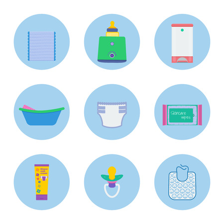 Baby hygiene vector set: pack of diapers, milk sterilizer and bottle warmer, diaper pail, infant bath with sponge, diaper, skincare wipes, baby rash cream, dummy, bib