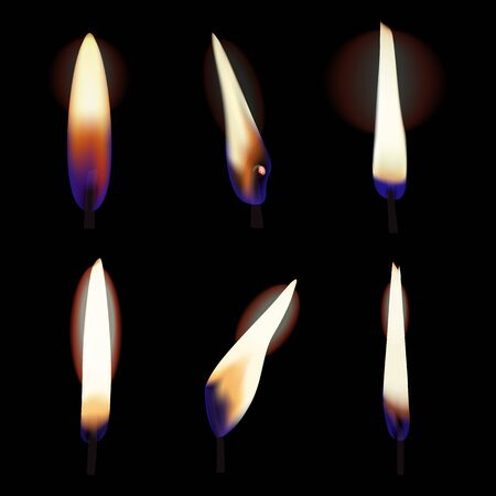 Set of candle flames. Fire vector illustration on dark background. Illustration