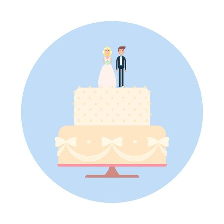 newly wedded couple: Wedding cake with newlyweds figures. Vector illustration of bride and groom on a cake.