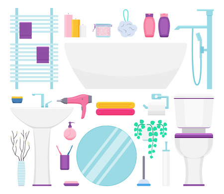Bathroom interior elements set. Vector illustration: towel holder, paper, body puff, bath tub, sink, hairdryer, towels, toilet
