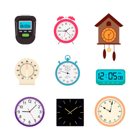Vector set of analog and digital clocks and timers Illustration