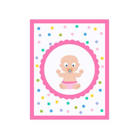 Baby girl shower invitation. Gender reveal postcard. Vector illustration