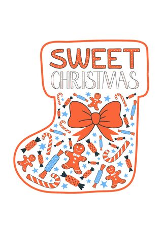chrismas card: Sweet Chrismas greeting card. Bow, gingerbread man, candy and sweets in a form of socking. Vector