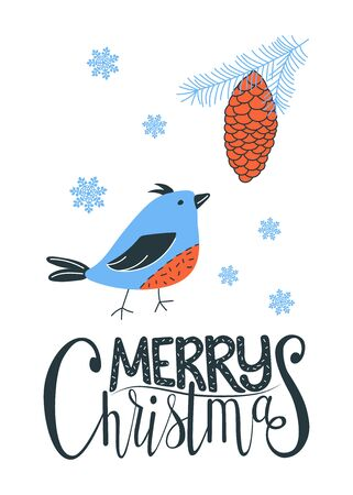Merry Chrismas greeting card with a bird and a pine cone. Vector illustration, Illustration