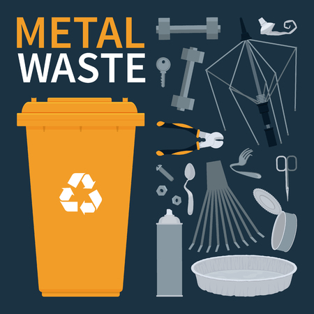 Garbage bin for recycling metal objects. Vector illustration