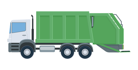 Garbage truck isolated on white background. Vehicle for waste collection. Vector illustration.