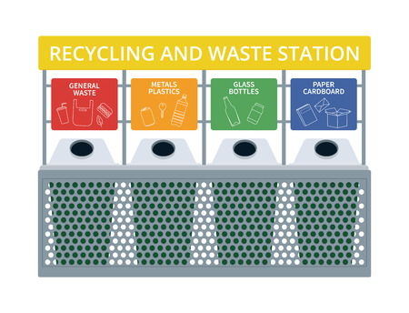 Waste and recycling station vector illustration.