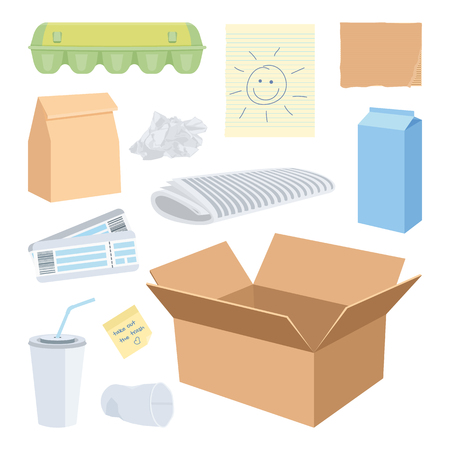 Cardboard waste objects isolated on white. Vector illustration of a box, cup, carton, lunch bag, crumpled piece of paper