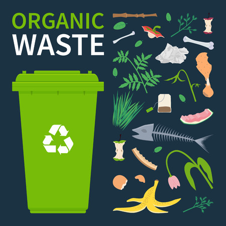 Bin for recycling organic waste. Food scraps and leftovers, cut tree brunch, grass vector illustration.