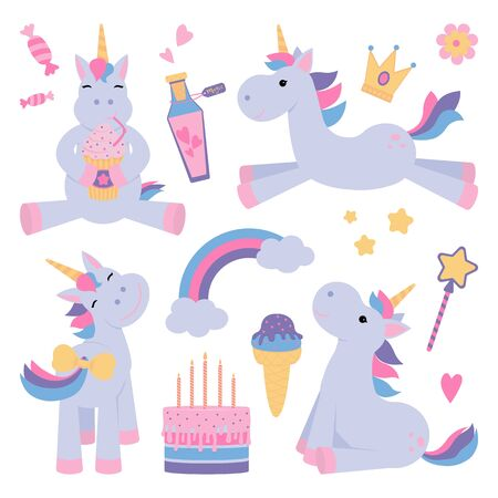 cute unicorns set with magical elements and wand royalty free