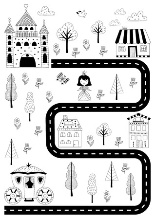 Poster for a girl nursery with a princess, a carriage, a castle and a road. Scandinavian style print in black and white