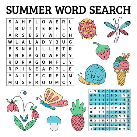Summer word search game for kids. Vector illustration for learning English
