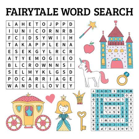 Jeu de recherche de mots de conte de fées pour les enfants. Illustration vectorielle pour apprendre l'anglais Vecteurs