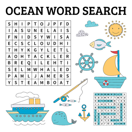 Learn English with an ocean word search game for kids. Vector illustration.