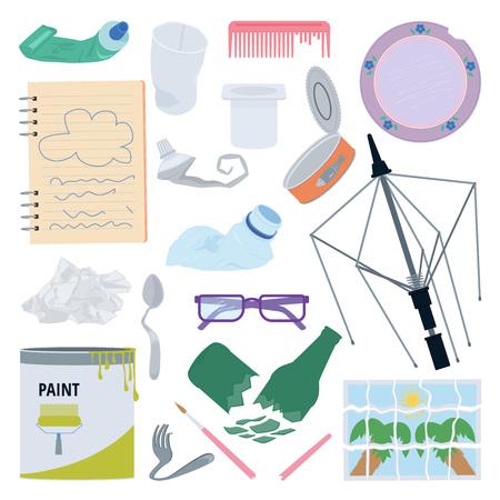 Objetos usados, rotos o dañados. Diferentes tipos de residuos. Ilustración de vector de basura Ilustración de vector