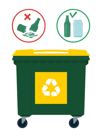 Do not put broken glass in the recycle waste bin. Vector illustration.