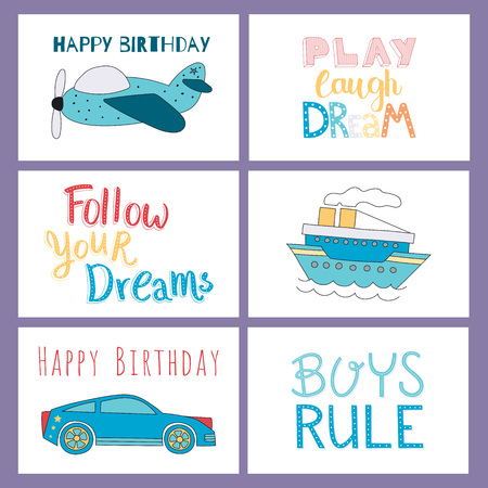 Set Of Happy Birthday Hand Drawn And Hand Lettered Cards For