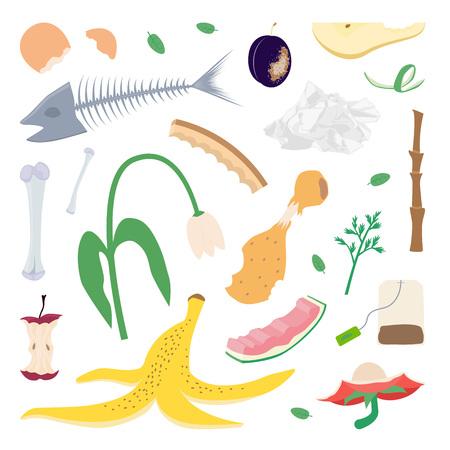 Kompost. Essensreste und Gartenabfälle. Bio. Vektorillustration.