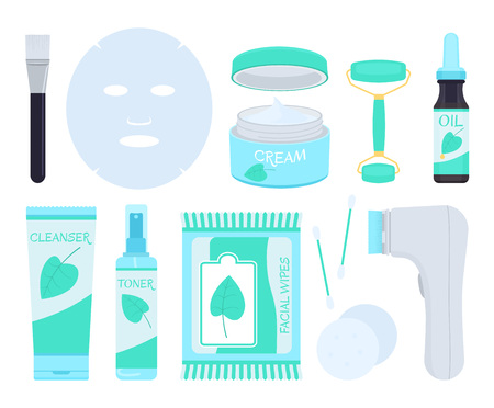 Facial skin care products. Vector illustration. 向量圖像