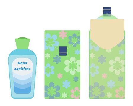 Hand sanitiser and paper tissues vector illustration.