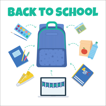 Back to school vector illustration. Pack your backpack with paints, notebook, lunch, id, shoes, stationary items. Çizim