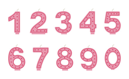 Vector illustration of Bithday cake candles. Set of numbers for party
