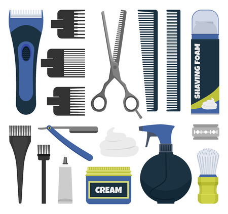 Barber tools vector set. Illustration of different razors, clippers, combs, styling spray.