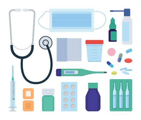 Tools of a general practitioner and medical aid objects set. Vector illustation.