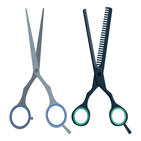 Hairdresser scissors and thinning shears. Vector illlustration of tools for a haircut. Çizim