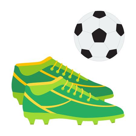 A pair of soccer boots and a ball. Football shoes vector illustration.