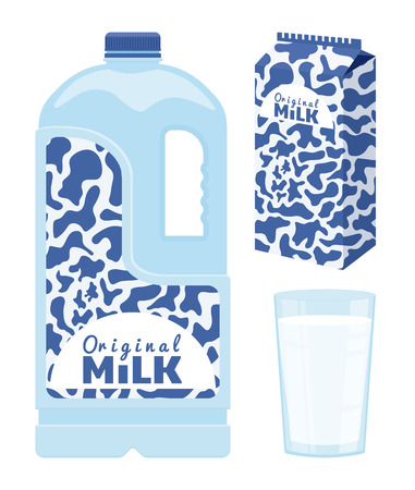 Milk in different packing. Dairy beverage vector illustration. Çizim