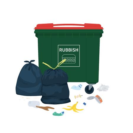 Müll liegt um den Abfallbehälter herum. Vektor-Illustration.