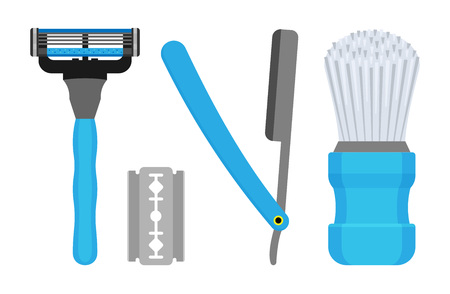 Set for shaving. Vector illustration of male razors and a bristle brush.