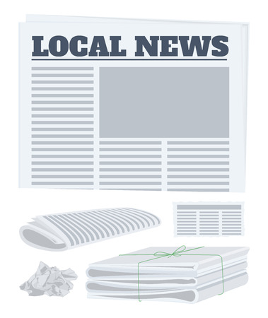 Newspaper set. Vector illustration.
