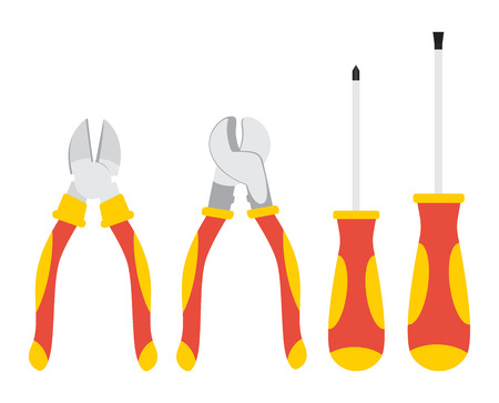 Set of hand tools. Cutting pliers, cable cutters and screwdrivers. Vector illustration.